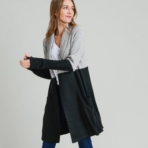 DOE & RAE Gray Black Color Block Open Long Coat